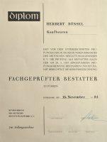 Urkunde - Herbert Bönsel